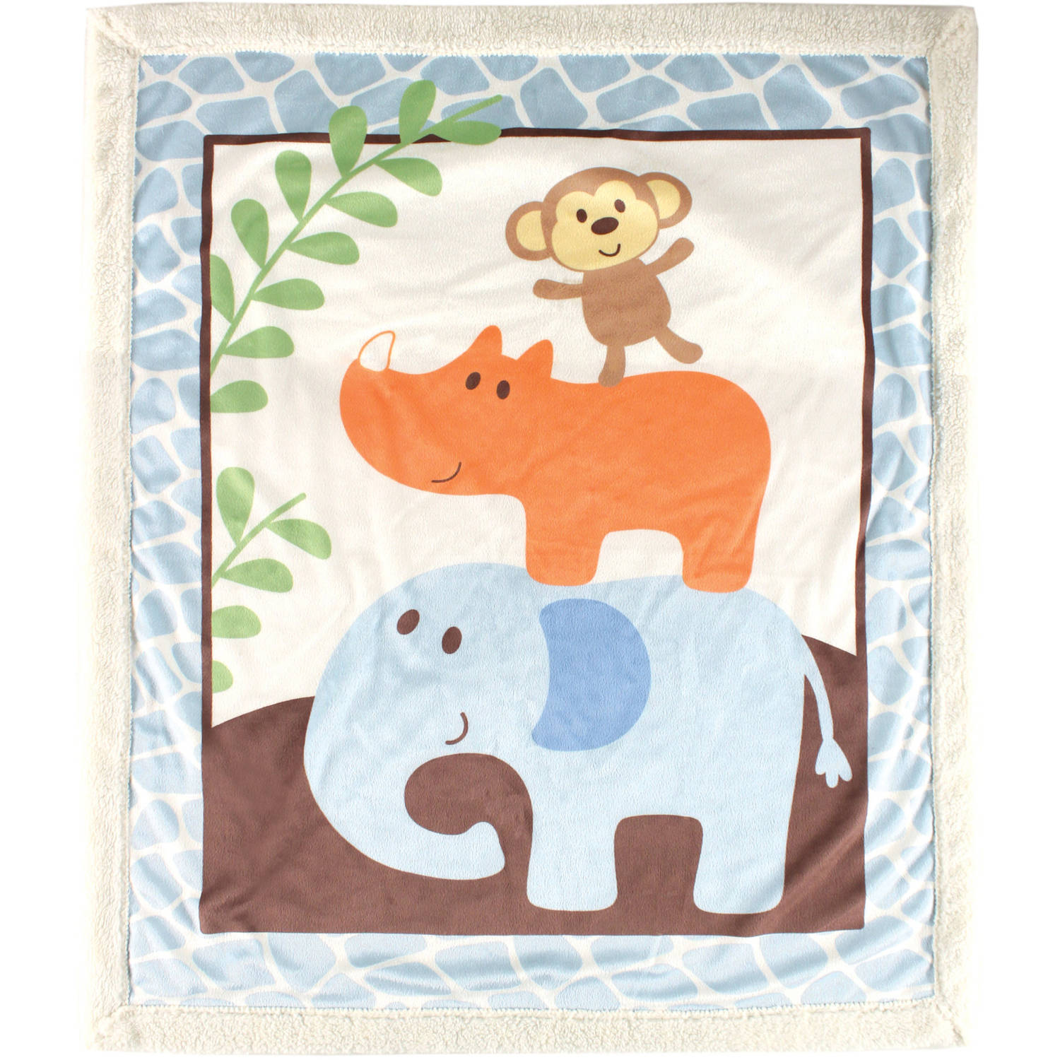 Luvable Friends Print Blanket with Sherpa Backing, Blue