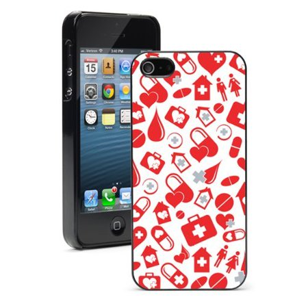 Apple Iphone  6 Plus   6S Plus  Hard Back Case Cover Red Medicine Nurse Doctor Pattern  Black