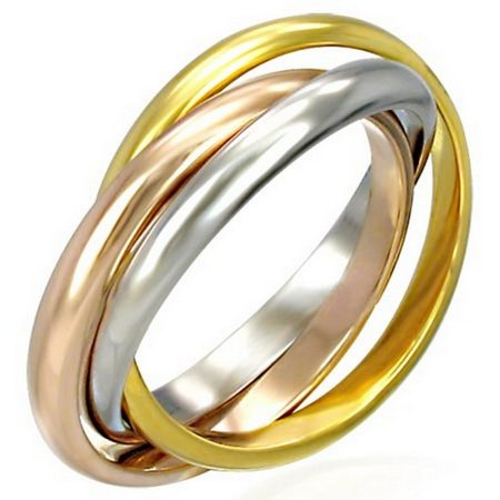 Stainless Steel Three Gold-Tone Interlocking Polished Ring Band Set, 3 mm Wide - Size 9 Polished Wide Band Ring