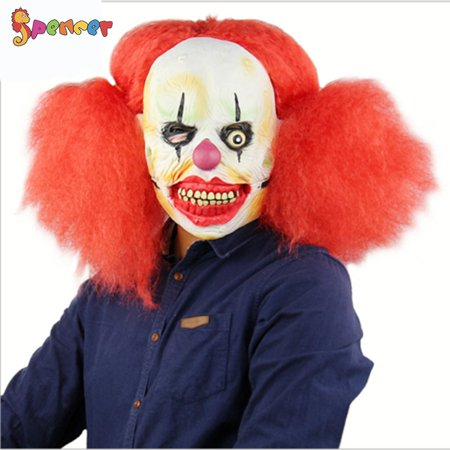 Really Scary Halloween Faces (Spencer Adult Scary Clown Latex Mask Red Wig Hair ForeHead Full Face Horror Halloween Creepy Joker Mask)