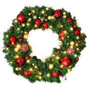 Christmas Wreath - Christmas Garland with LED Lights - Artificial Xmas Pine Wreath - Including Wreath Hanger - Full Christmas Decorations Ornaments - 24 Inch