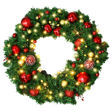 Christmas Wreath Christmas Garland With Led Lights Artificial Xmas Pine Wreath Including Wreath Hanger Full Christmas Decorations Ornaments