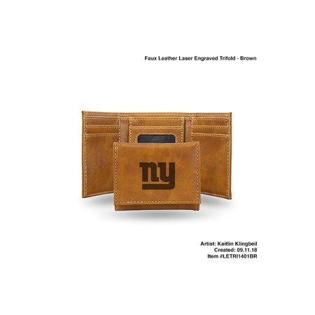 New York Giants BROWN FAUX LEATHER LASER ENGRAVED TRIFOLD WITH BLACK LOGO - image 1 of 1