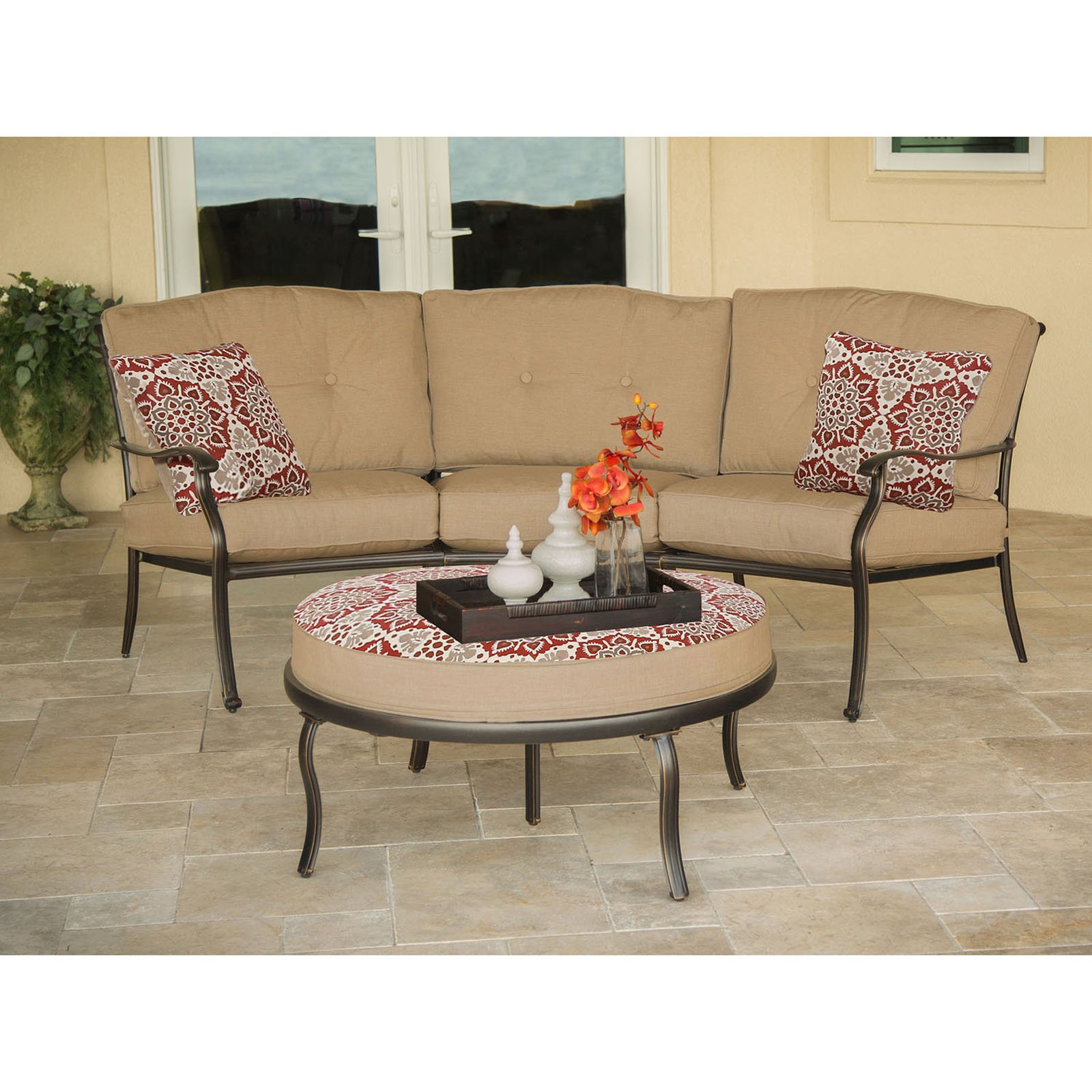 Hanover Outdoor Traditions 2-Piece Patio Set with Reversible Ottoman and Accent Pillows, Natural Oat/Berry