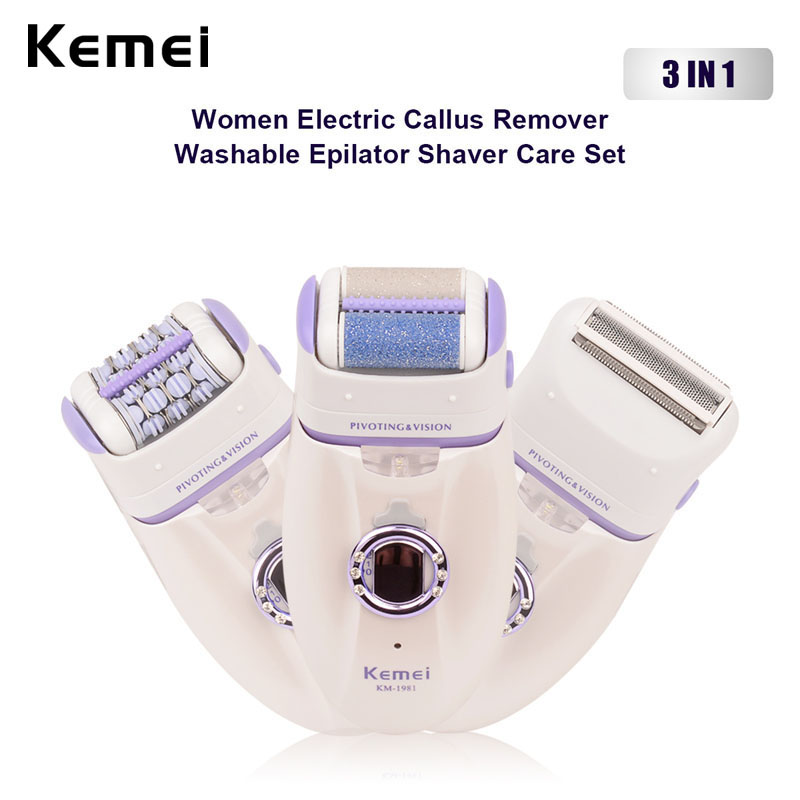 3 in 1 220-230V Electric Lady Shaver Rechargeable Arm Leg Bikini Underarm Epilator Female Depilation Hair Removal Women Razor