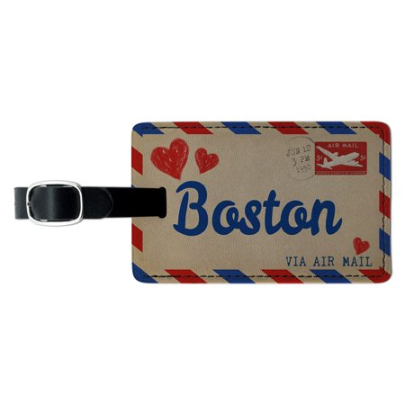 Graphics and More Air mail Postcard Love for Boston Rectangle Leather Luggage ID Tag