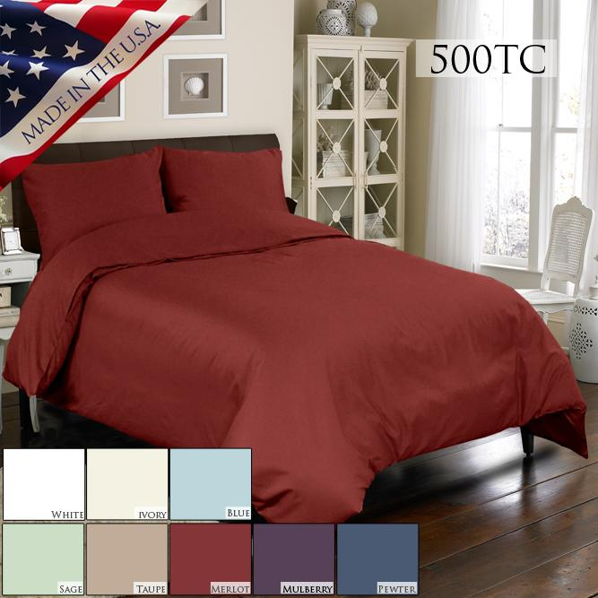 Veratex Supreme Sateen 500-Thread-Count Egyptian Cotton Duvet and Sham Set