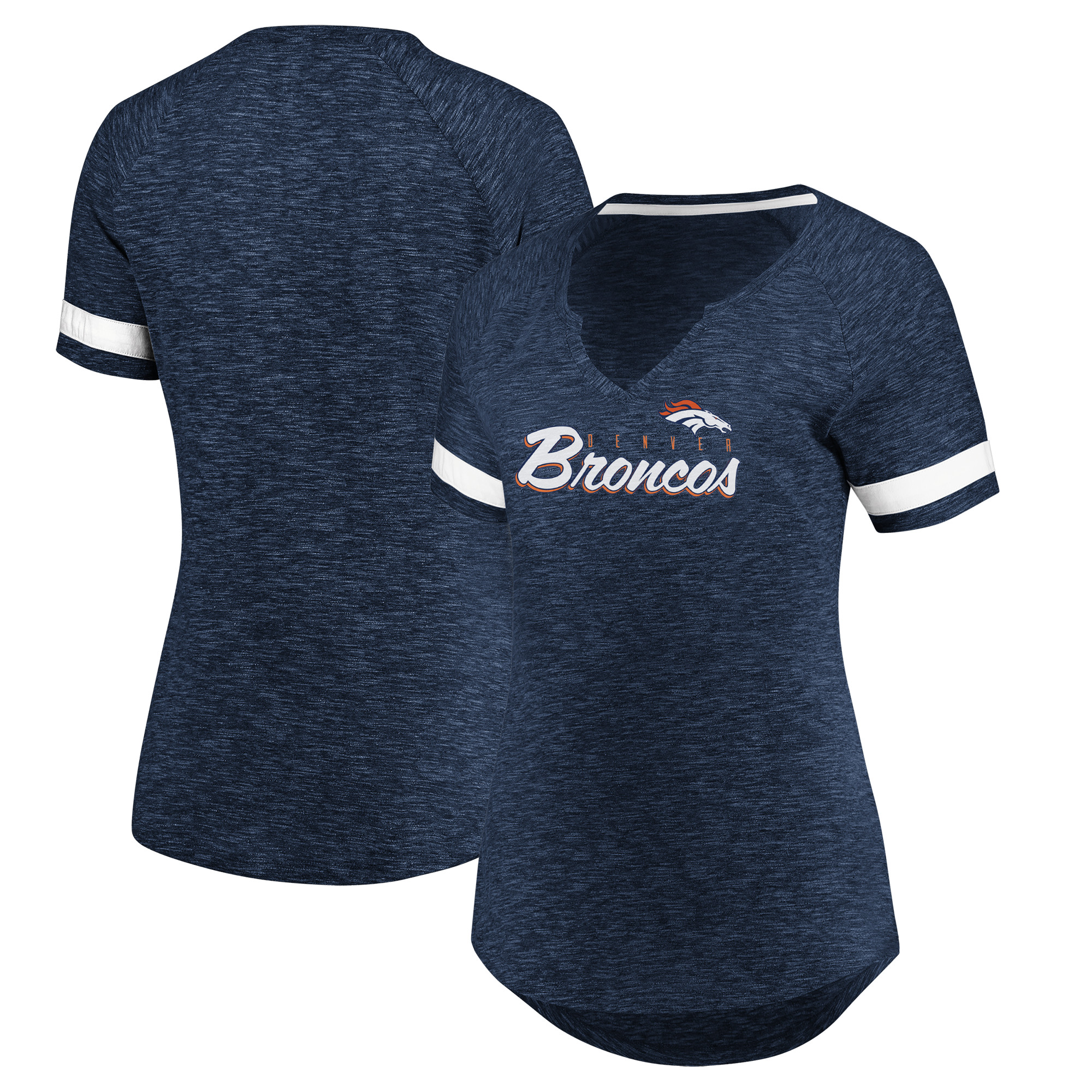Denver Broncos Majestic Women's Through Thick or Thin V-Notch T-Shirt - Navy