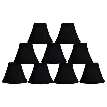 "Urbanest Burlap Bell Chandelier Shade, 3x6x5"", Black, Set of 9"