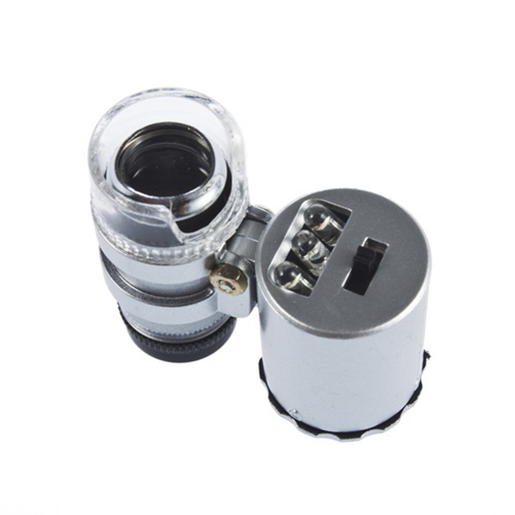 60X Zoom LED Microscope Micro Lens New Silver by