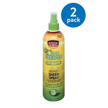 (2 Pack) African Pride Olive Miracle Braid Sheen Spray 12 fl. oz. Spray