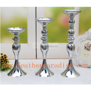 6 pcs Wedding Floral Stand /Pillar Candle Holder Flower Feather Ball Centerpiece Stand Reversible- Silver 15 inches High New!!! - Silver Centerpieces