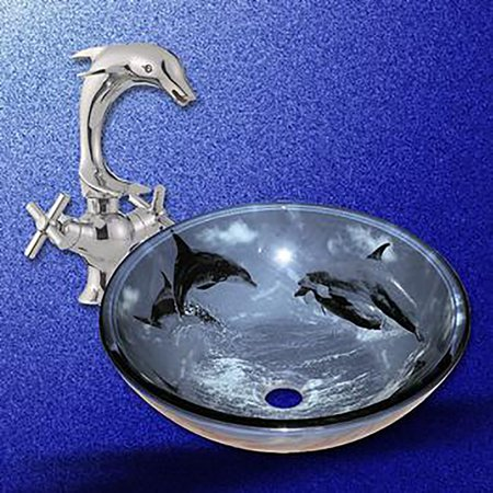 Bathroom vessel sink blue tempered glass dolphin design and faucet combo - Dolphin faucet ...