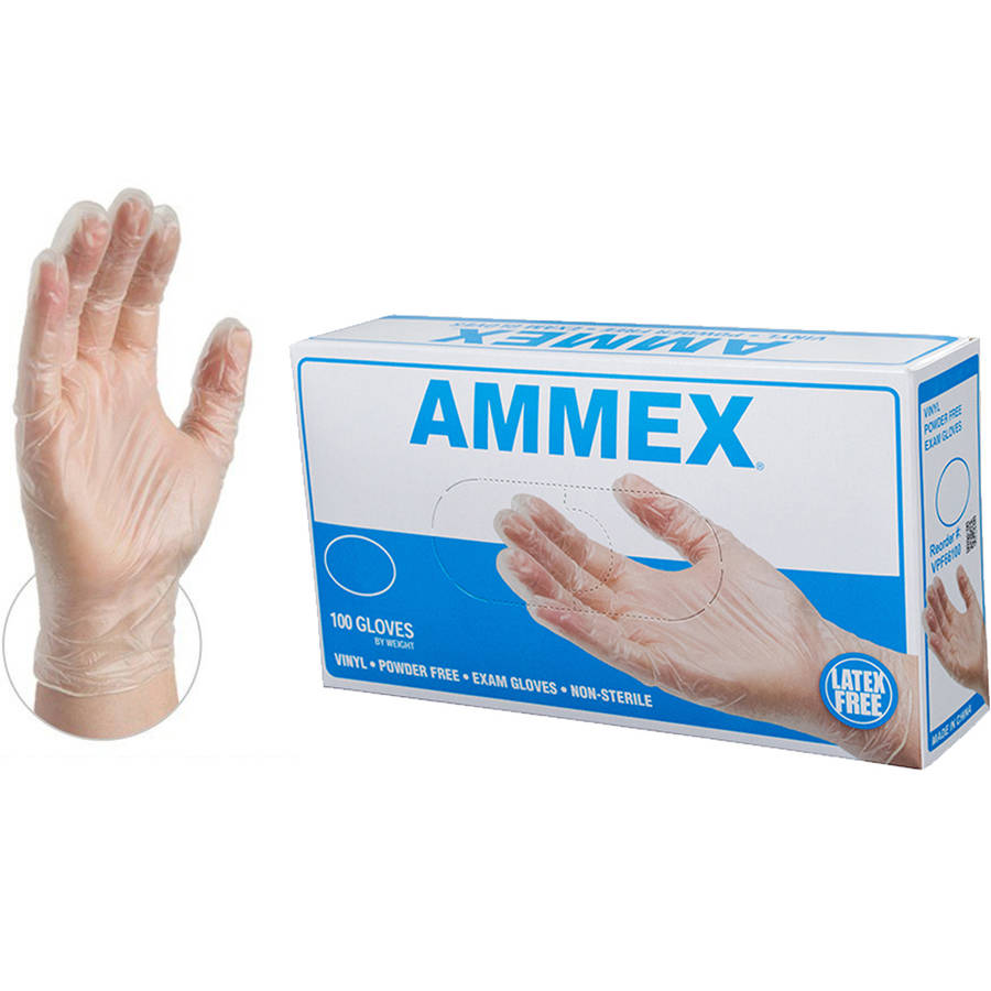 AMMEX Clear Vinyl Exam Disposable Gloves, Small
