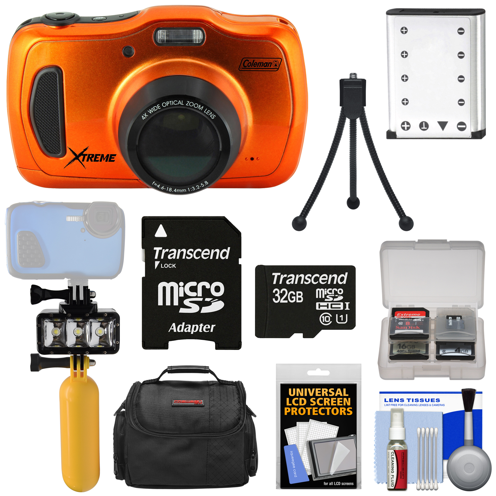 Coleman Xtreme4 C30WPZ Waterproof HD Digital Camera (Orange) with 32GB Card + Battery + Diving LED Video Light + Buoy... by Coleman