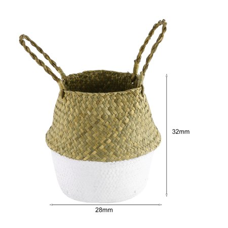 Foldable Seagrass Woven Storage Pot Handmade Flower Hanging Basket With Handle - image 4 of 8