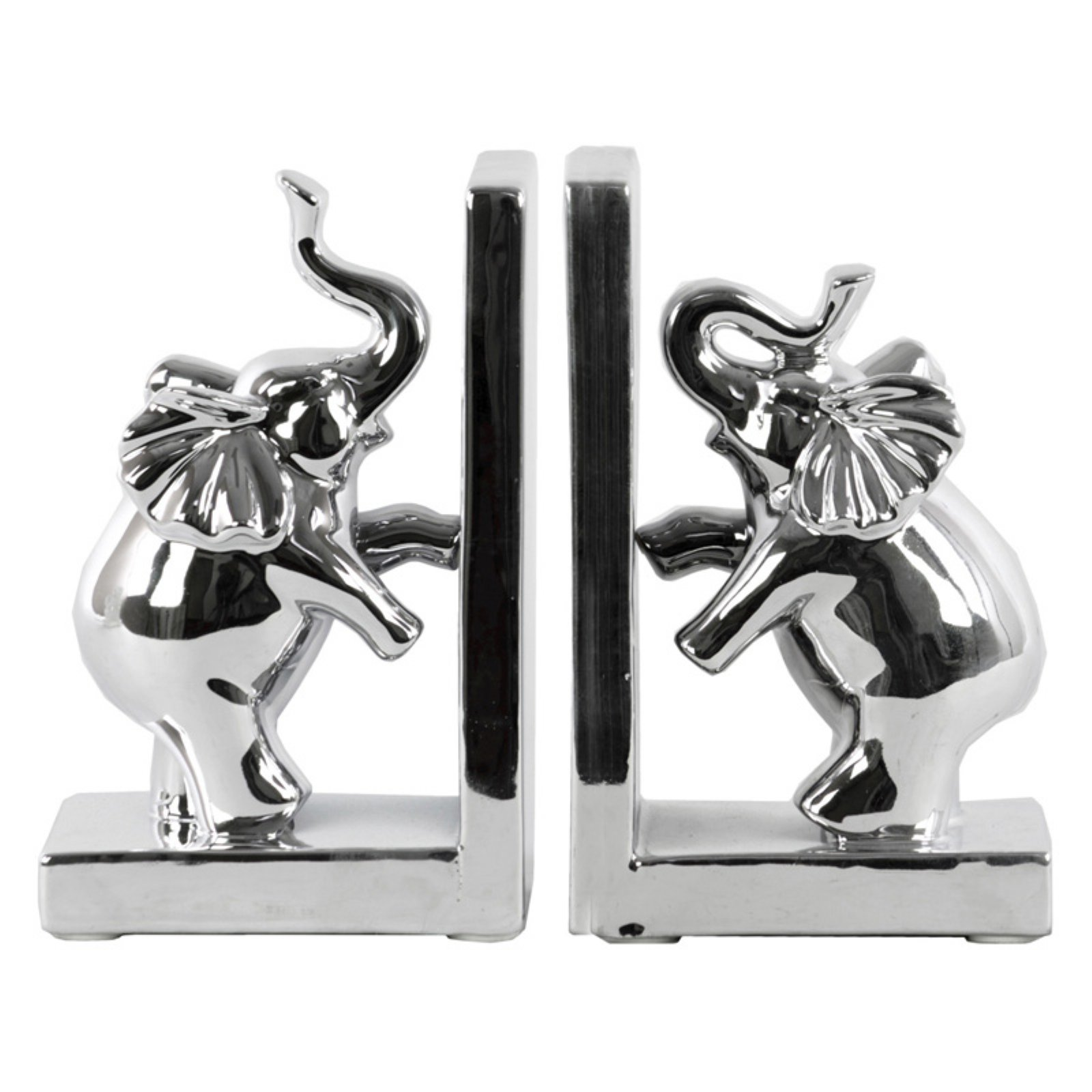 Urban Trends Collection: Ceramic Elephant Bookend, Polished Chrome Finish, Silver