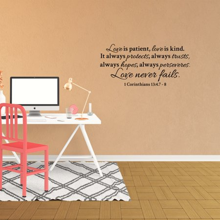 Wall Decal Quote Love Is Patient Love Is Kind It Always Protects Always Trusts Always Hopes Always Perseveres Religious Words Vinyl Lettering JP910 (Love Is Kind Love Is)