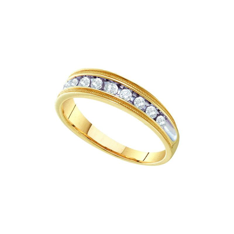 10K Yellow Gold 0.50ctw Shiny Channel Diamond Mens Milgrain Wedding Band Ring