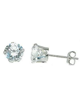 Sterling Silver Stud Earrings For Women Makes Unique Women Birthday Gift, Brilliant Cut Sterling Silver Stud Earrings