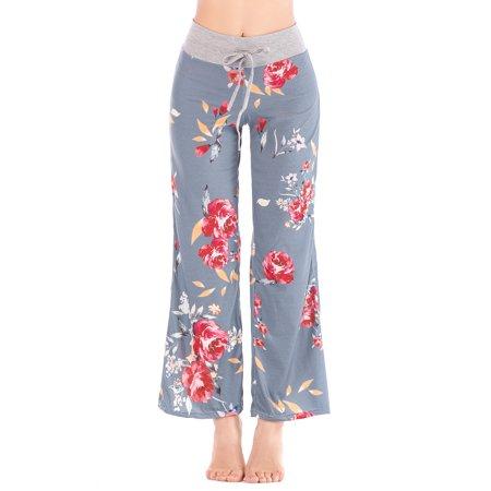 SAYFUT Women Long Pants Wide Leg Yoga Dance Casual Palazzo Trousers Plus Size ()