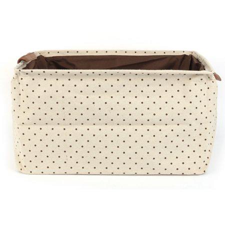Unique Bargains Home Rectangular Fabric Storage Basket Bin Box Organizer with Handle Coffee Dot - Rectangular Storage Baskets