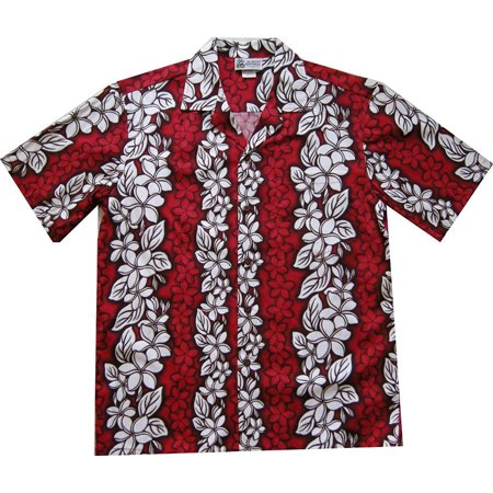 Floral Flowers Leis Panel Hawaiian Shirt Red (LARGE)   W59 - Leis Flowers