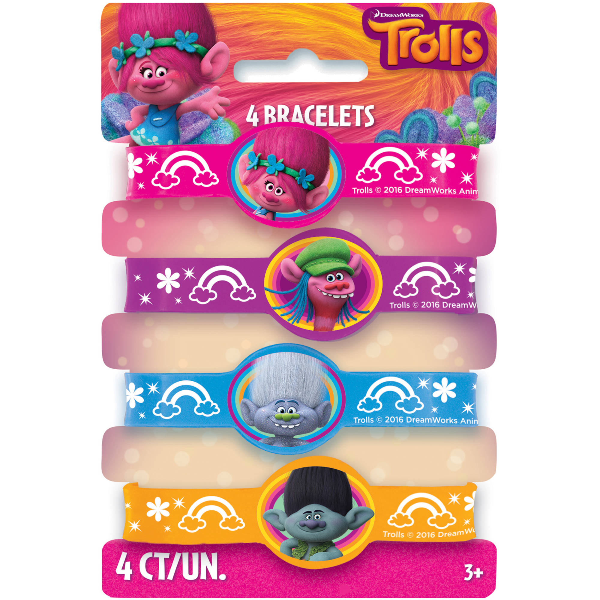 Trolls Rubber Bracelet Party Favors, Assorted, 4ct