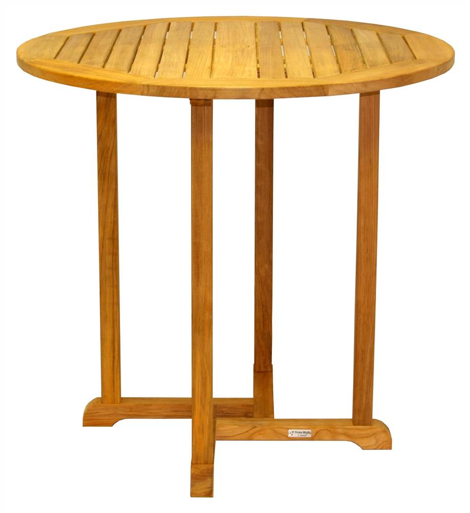 Round Slatted Top Teak Bar Table - Oxford (42 in.)
