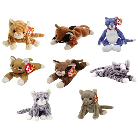 - TY Beanie Babies - CATS (Set of 8)(Amber, Chip, Kooky, Nip, Pounce, Prance, Silver & Scat)(5.5-9 in)