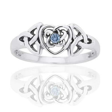 March Birthstone Ring - Sterling Silver Simulated Aquamarine Celtic Trinity Knot Heart