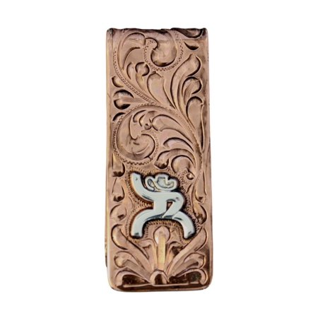 HOOey Western Money Clip Mens Roughy Engraved Copper HY321 015