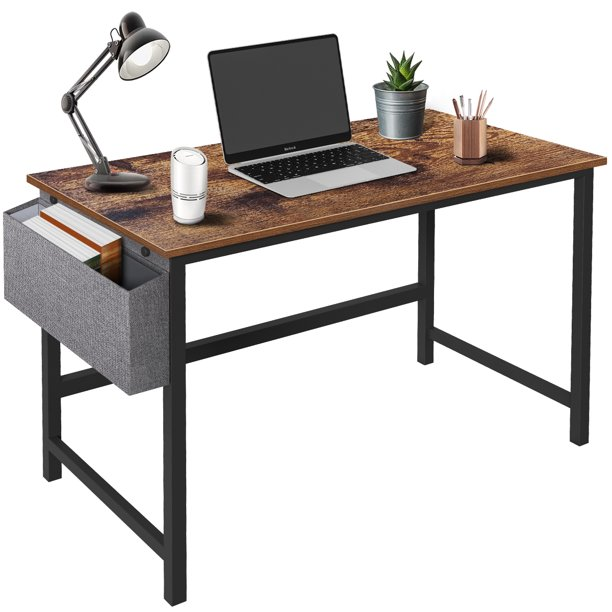 [Black Friday Deals]Computer Desk Cheflaud Home Office Sturdy Desk Modern Simple Study Writing Table with Storage Bag, Brown