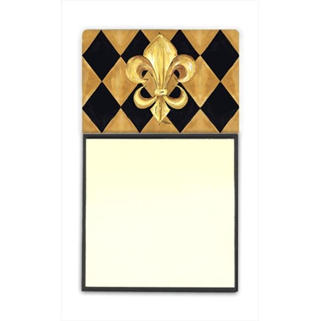 Carolines Treasures 8125SN Black and Gold Fleur de lis New Orleans Refiillable Sticky Note Holder or Postit Note Dispenser, 3 x 3 In. - image 1 de 1