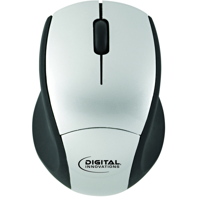 Digital Innovations EasyGlide Wireless Travel Mouse - Optical - Wireless - Radio Frequency - Silver, Black - USB - 1000 dpi - Computer - Scroll Wheel - 3 Button(s) - Symmetrical