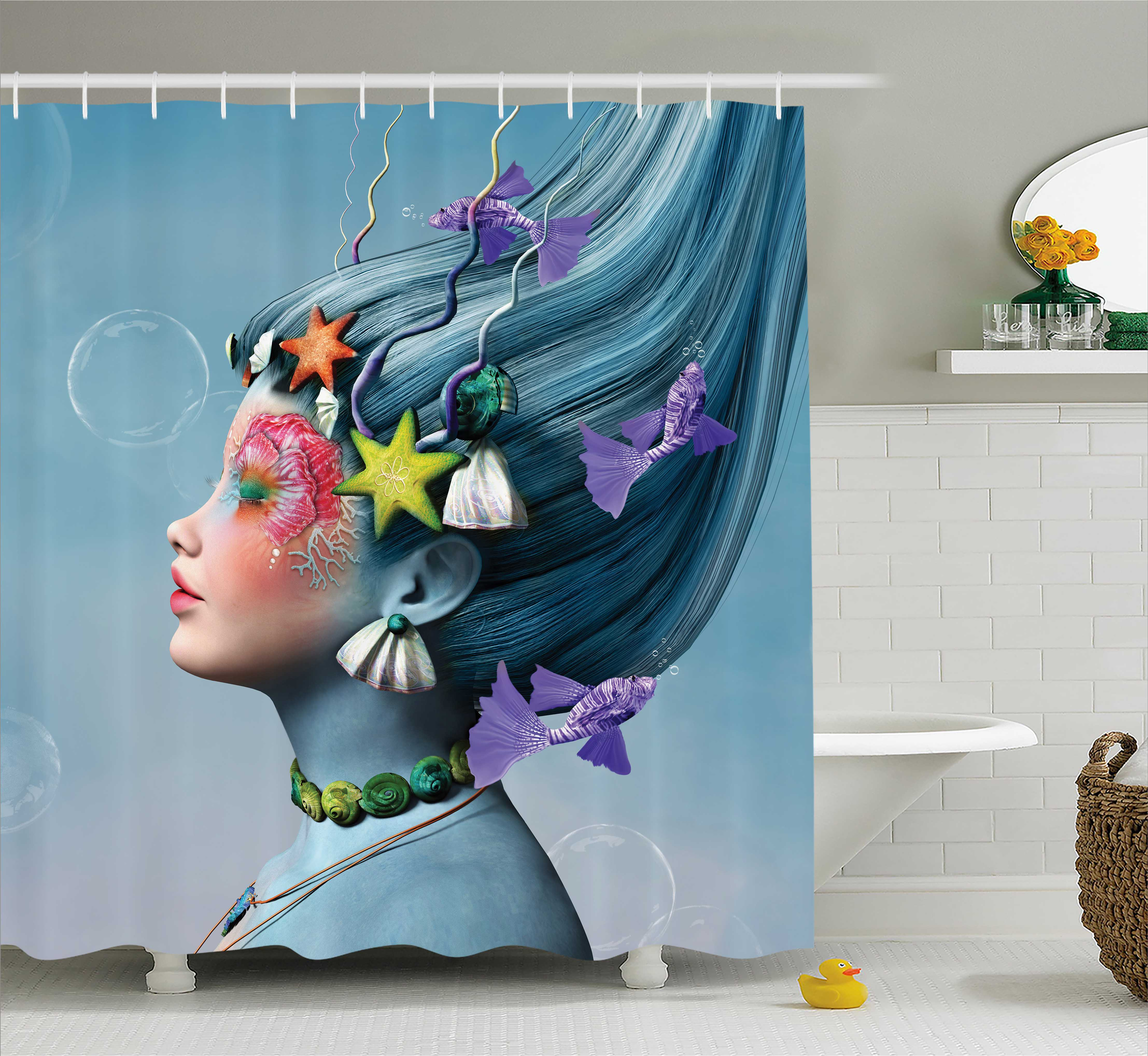 Mermaid Shower Curtain, Woman with Underwater Themed Make Up Hairstyle Starfishes Seashells Fishes Bubbles, Fabric Bathroom Set with Hooks, 69W X 70L Inches, Multicolor, by Ambesonne