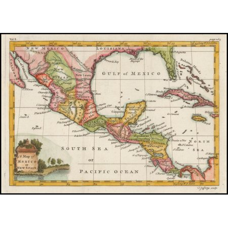 Map Of Spain To Print.Laminated Poster A Map Of Mexico Or New Spain Poster Print 24 X 36