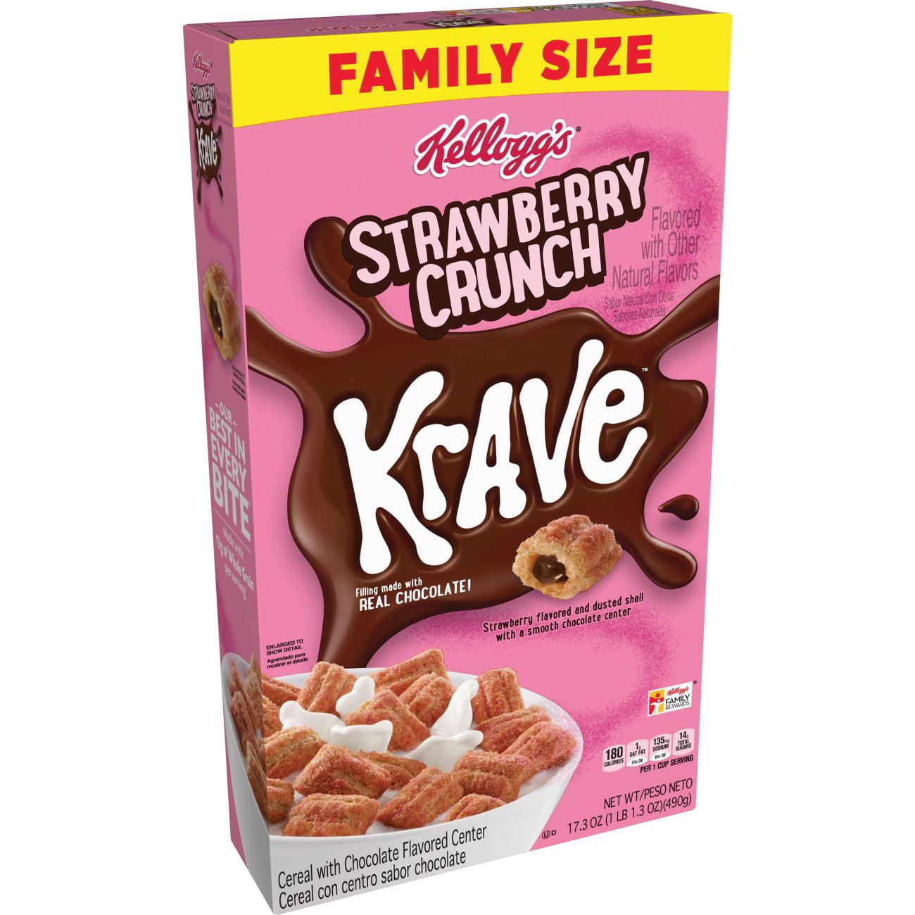 Kellogg's Krave, Breakfast Cereal, Strawberry Crunch, 17.3 Oz