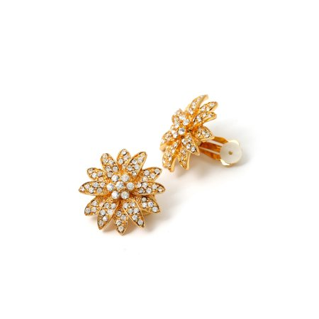 - Gold Crystal Rhinestone in Flower Shape Clip Earrings