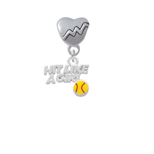 Hit Like a Girl with Enamel Softball - Heartbeat Charm Bead