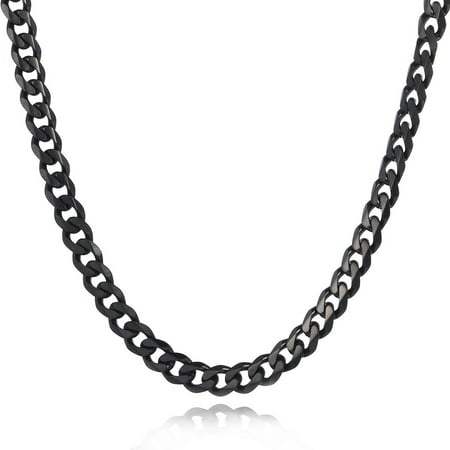 Hermah 7mm Mens Boys Black Tone Curb Cuban Necklace Stainless Steel Chain - Necklaces For Boys