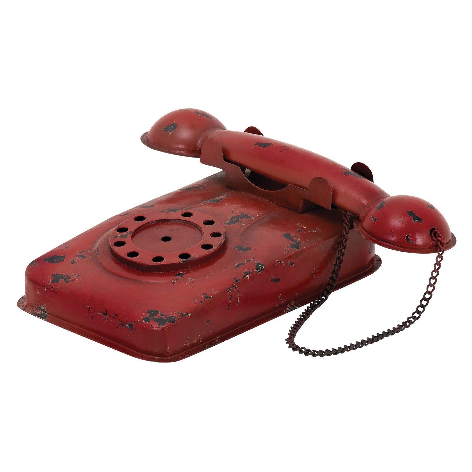 Woodland Imports Decorative Antique Red Phone Sculpture