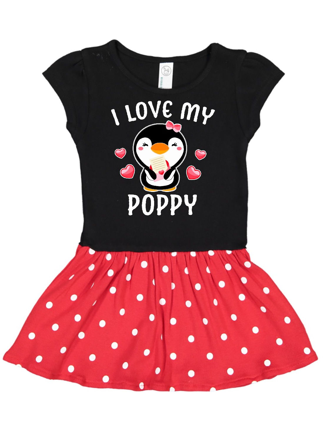 inktastic I Love My Poppy with Cute Penguin and Hearts Toddler T-Shirt
