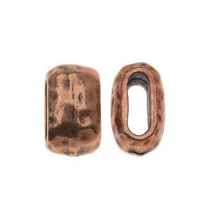 Antiqued Copper Plated Lead-Free Pewter Hammered Barrel Bead 6x2mm - Pack Of 2