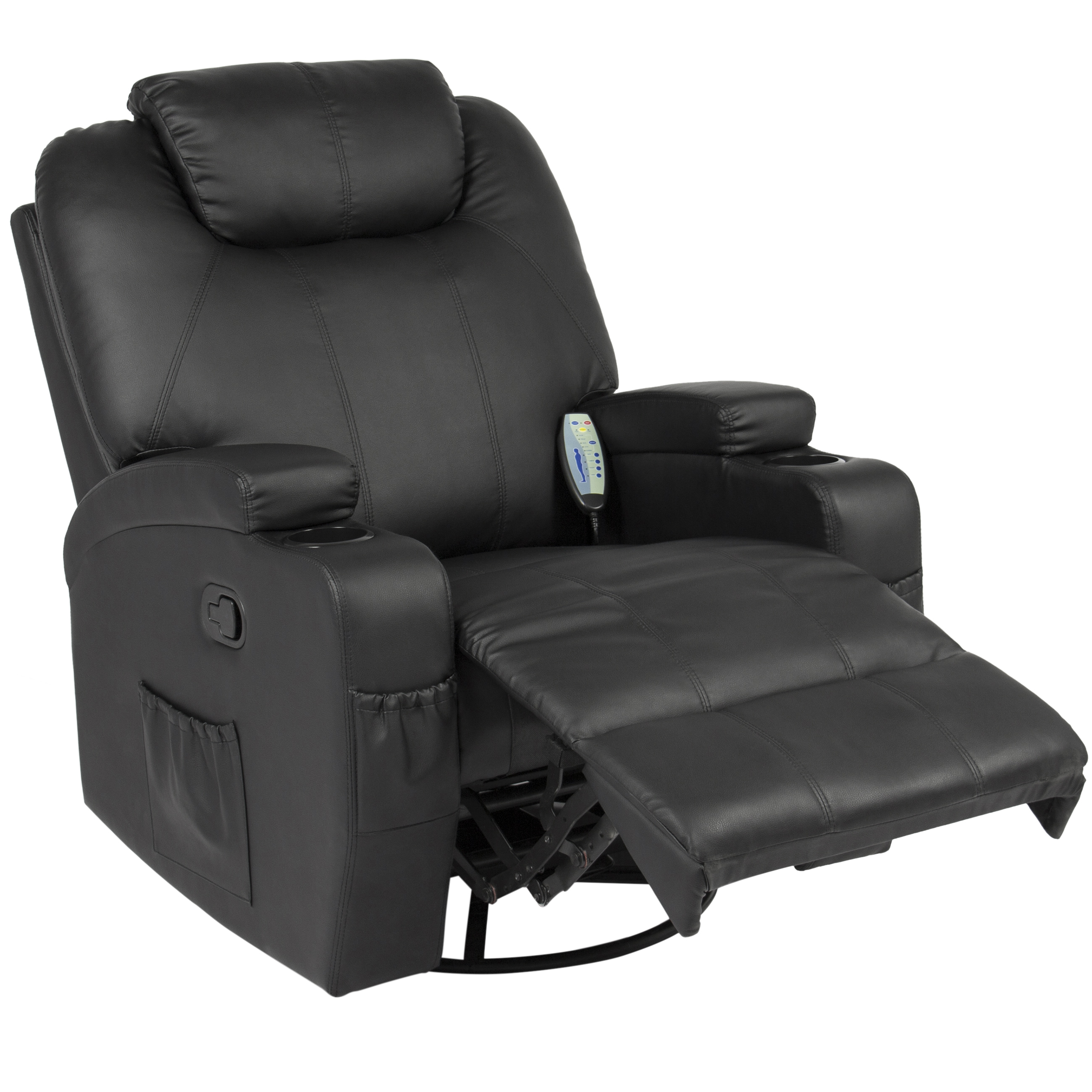 High Quality Best Choice Products Executive Swivel Massage Recliner W/ Control, 5 Heat U0026  Massage Modes, 2 Cup Holders, 92lbs (Black)   Walmart.com