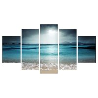 Moaere Framed/Unframed 5Pcs Oil Painting Reproduction Modern Giclee Sunset Seaside Canvas Prints Artwork Abstract Landscape Pictures Printed on Canvas Wall Art Home Office Decorati
