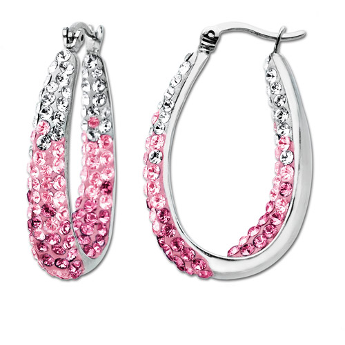 Luminesse Sterling Silver Pink Fade Hoop Earrings made with Swarovski Elements