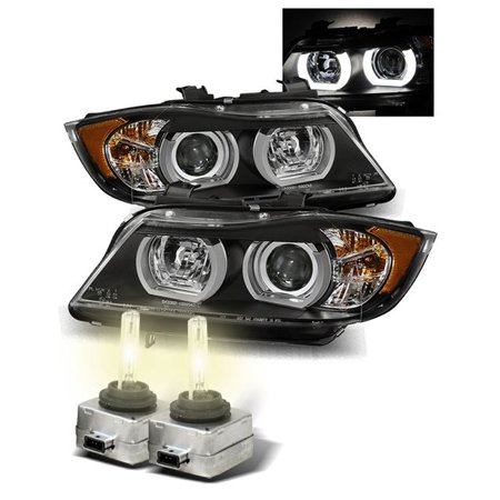4300K HID/For 06-08 BMW E90 Sedan Stock HID AFS Halo Projector Headlights  Black