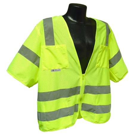 SV83GM2X Class 3 Standard Mesh Safety Vest with Short Sleeves, 2X-Large, Green, Class 3 standard mesh safety vest with short sleeves By Radians (Green Joker Vest)
