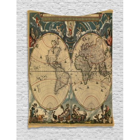 - Vintage Tapestry, Dated Old Map of Ancient World Historic Geography Theme Antique Grungy Design Print, Wall Hanging for Bedroom Living Room Dorm Decor, 60W X 80L Inches, Multicolor, by Ambesonne